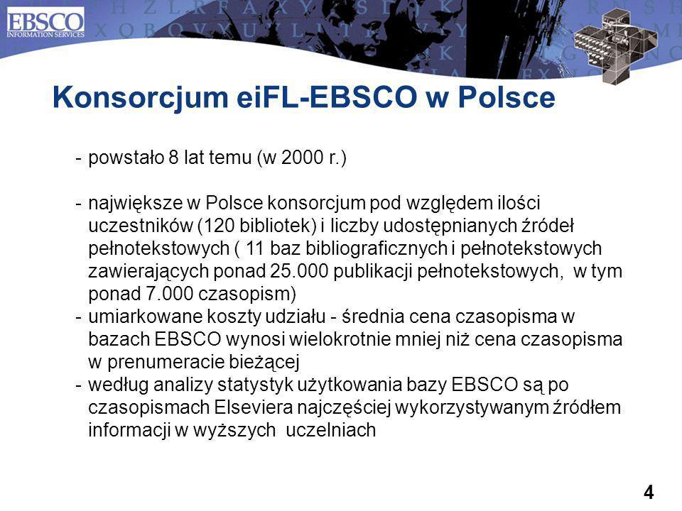 4 powstało 8 lat temu (w 2000 r.) największe w Polsce konsorcjum pod względem ilości uczestników (120 bibliotek) i liczby udostępnianych źródeł pełn