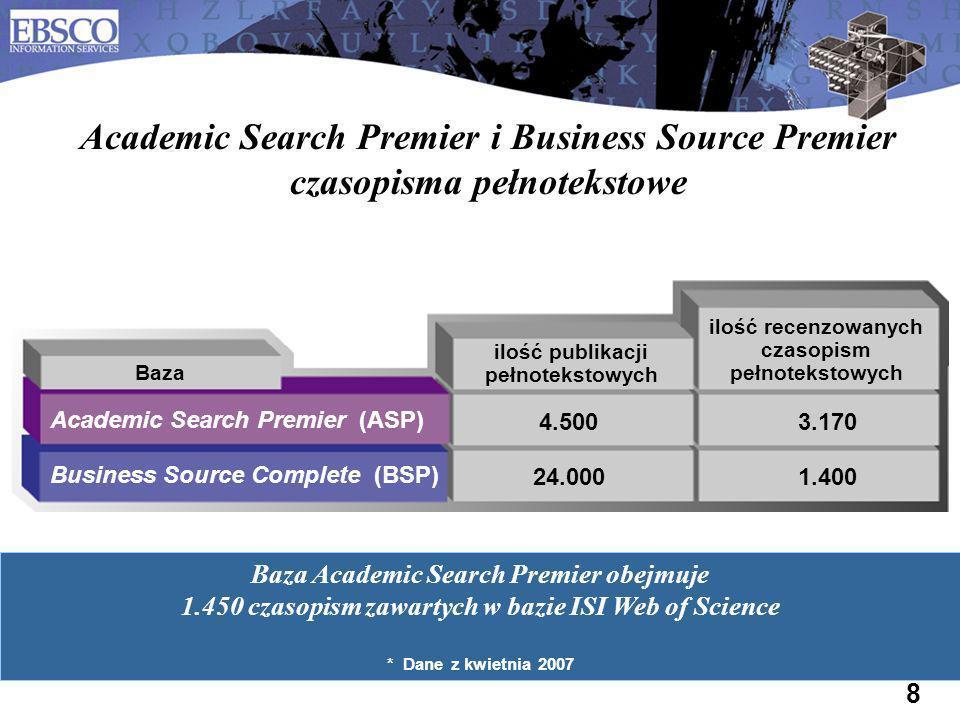 8 Academic Search Premier i Business Source Premier czasopisma pełnotekstowe ilość recenzowanych czasopism pełnotekstowych ilość publikacji pełnotekst