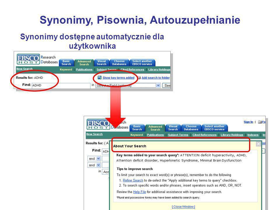 Synonimy dostępne automatycznie dla użytkownika Synonimy, Pisownia, Autouzupełnianie