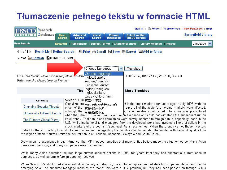 Tłumaczenie pełnego tekstu w formacie HTML