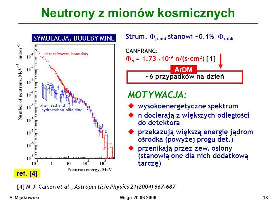 P.MijakowskiWilga 20.06.200618 Neutrony z mionów kosmicznych ref.