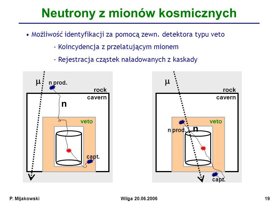 P.MijakowskiWilga 20.06.200619 Neutrony z mionów kosmicznych rock cavern veto n n prod.