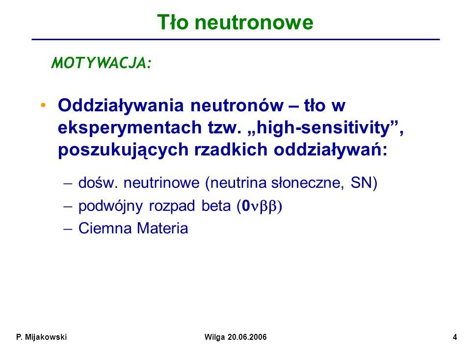P.MijakowskiWilga 20.06.20064 Tło neutronowe Oddziaływania neutronów – tło w eksperymentach tzw.