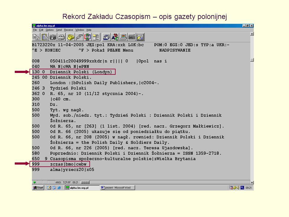Rekord Zakładu Czasopism – opis gazety polonijnej