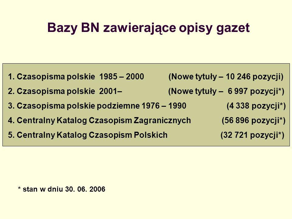 Bazy BN zawierające opisy gazet 1. Czasopisma polskie 1985 – 2000 (Nowe tytuły – 10 246 pozycji) 2. Czasopisma polskie 2001– (Nowe tytuły – 6 997 pozy