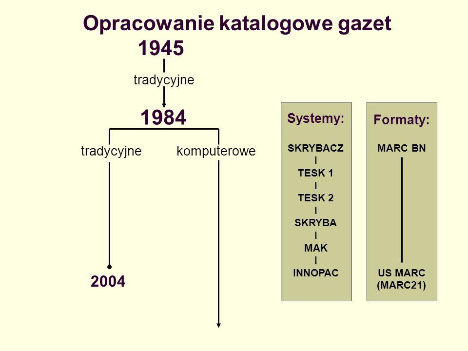 Opracowanie katalogowe gazet 1984 tradycyjne 1945 2004 tradycyjnekomputerowe Systemy: SKRYBACZ I TESK 1 I TESK 2 I SKRYBA I MAK I INNOPAC Formaty: MAR