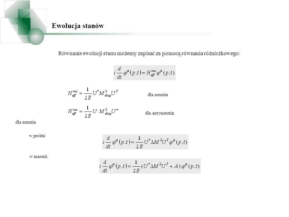 w materii: Równanie ewolucji stanu możemy zapisać za pomocą równania różniczkowego: Ewolucja stanów dla neutrin dla antyneutrin dla neutrin w próżni