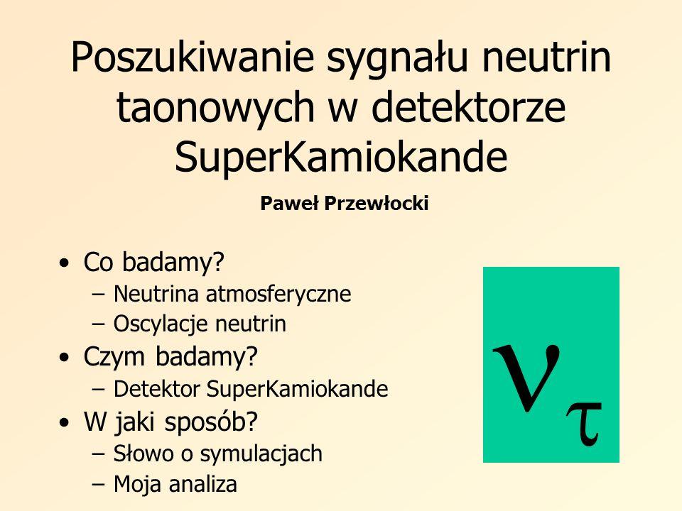 Poszukiwanie sygnału neutrin taonowych w detektorze SuperKamiokande Co badamy? –Neutrina atmosferyczne –Oscylacje neutrin Czym badamy? –Detektor Super
