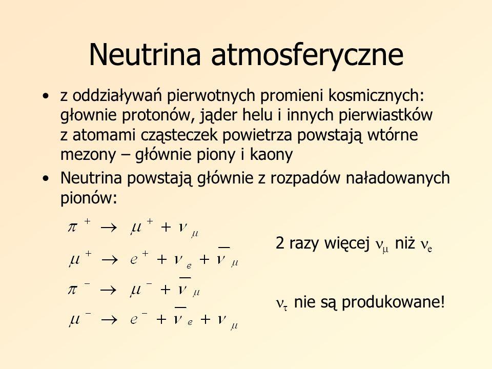 symulacje Kroki symulacji: Generacja oddziaływań neutrin Generacja kinematyki przypadków Propagacja cząstek w wodzie Symulacja detektora – propagacja światła Czerenkowa Analiza danych Tworzenie plików z danymi Dwa rodzaje próbek: Atmosferyczna (oddziaływania neutrin elektronowych i mionowych CC i NC) Taonowa (oddziaływania neutrin taonowych CC) W każdej uwzględniono oscylacje z następującymi wartościami parametrów: Program symulacyjny dla SK – NEUT