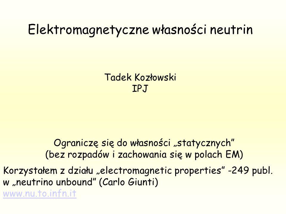 W Modelu Standardowym (SM): neutrina nie mają mas neutrina nie mają ładunków Neutrina SM nie są ani cząstkami Diraca, ani Majorany są cząstkami Weila (1929) Neutrina SM nie oddziaływają z polem EM Oddziaływują tylko słabo