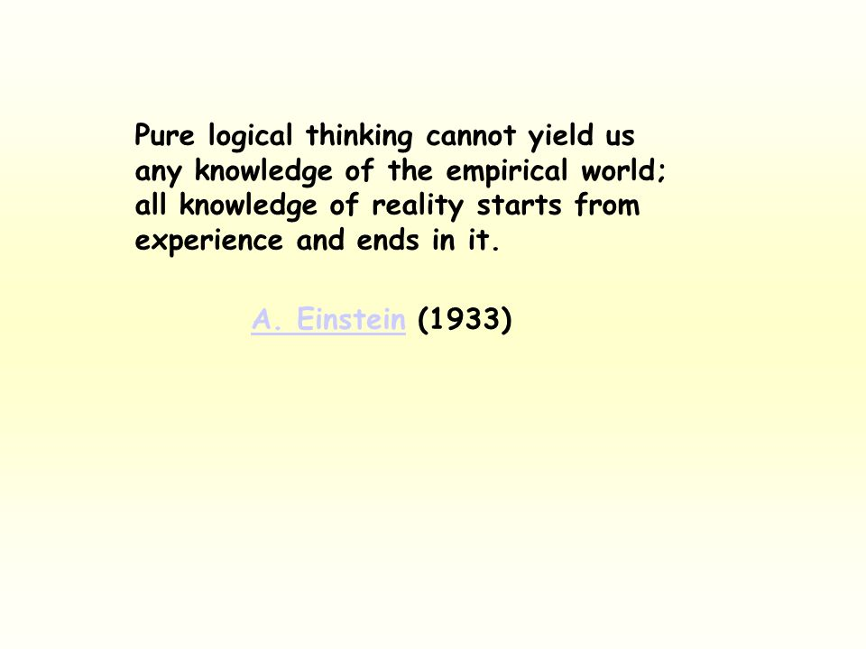 Pure logical thinking cannot yield us any knowledge of the empirical world; all knowledge of reality starts from experience and ends in it. A. Einstei