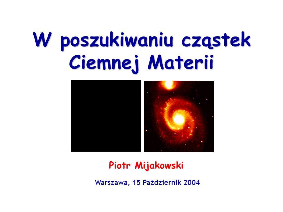 W poszukiwaniu cząstek Ciemnej Materii Piotr Mijakowski Warszawa, 15 Październik 2004