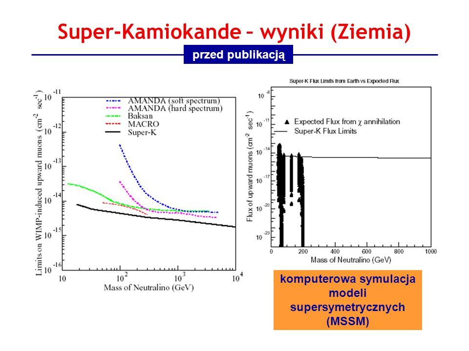 Super-Kamiokande – wyniki (Ziemia) komputerowa symulacja modeli supersymetrycznych (MSSM) przed publikacją