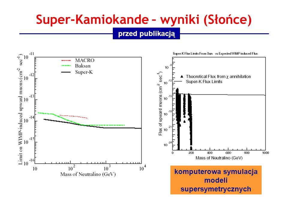 Super-Kamiokande – wyniki (Słońce) komputerowa symulacja modeli supersymetrycznych przed publikacją