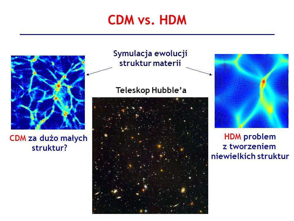 CDM vs. HDM HDM problem z tworzeniem niewielkich struktur Symulacja ewolucji struktur materii CDM za dużo małych struktur? Teleskop Hubblea