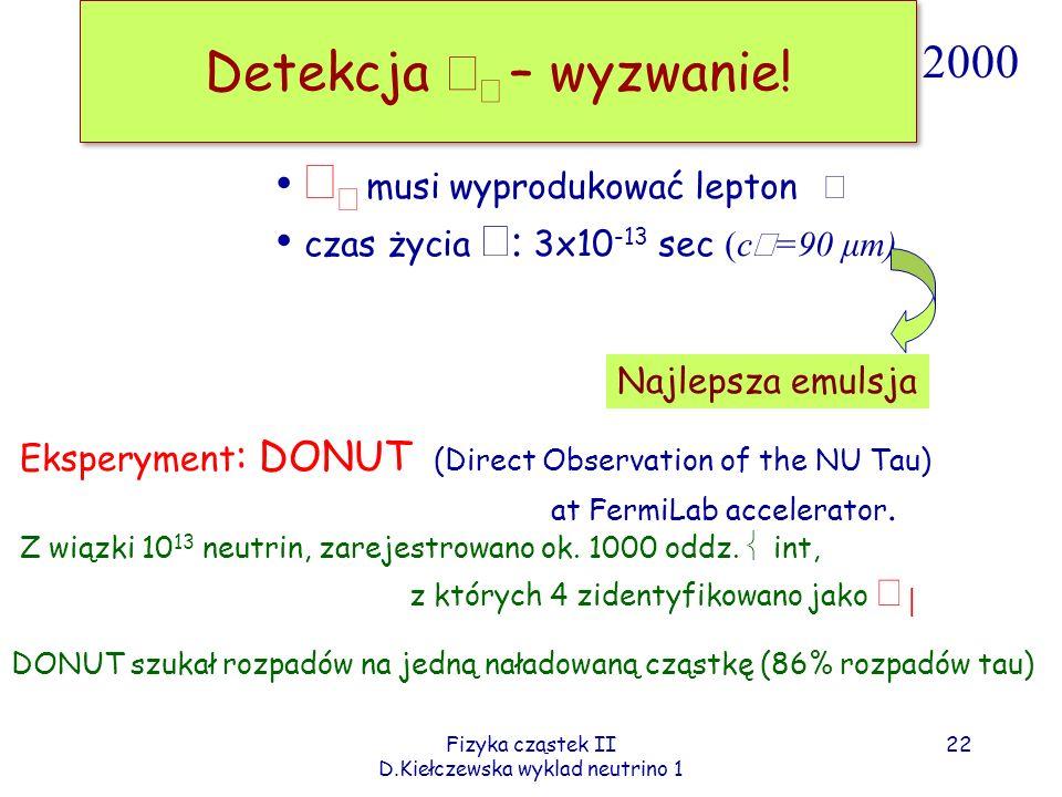 Fizyka cząstek II D.Kiełczewska wyklad neutrino 1 Detekcja – wyzwanie! Eksperyment : DONUT (Direct Observation of the NU Tau) at FermiLab accelerator.