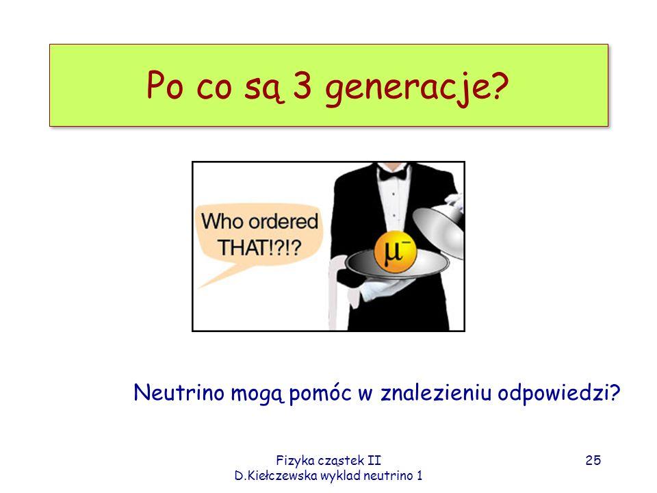 Fizyka cząstek II D.Kiełczewska wyklad neutrino 1 Po co są 3 generacje? Neutrino mogą pomóc w znalezieniu odpowiedzi? 25