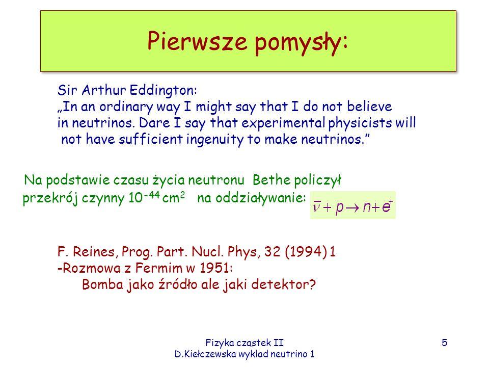 Fizyka cząstek II D.Kiełczewska wyklad neutrino 1 Pierwsze pomysły: Sir Arthur Eddington: In an ordinary way I might say that I do not believe in neut