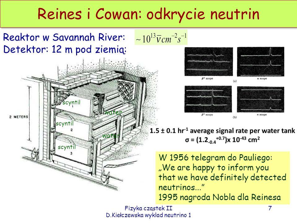 Fizyka cząstek II D.Kiełczewska wyklad neutrino 1 Reines i Cowan: odkrycie neutrin Reaktor w Savannah River: Detektor: 12 m pod ziemią: scyntil water