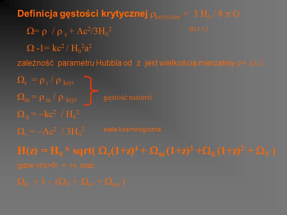 Definicja gęstości krytycznej krytyczne = 3 H 0 / 8 G = / c + c 2 /3H 0 2B13/13 -1= kc 2 / H 0 2 a 2 zależność parametru Hubbla od z jest wielkością mierzalną- z= r = r / kryt m = m / kryt gęstość materii k = kc v = c stała kosmologiczna H(z) = H 0 * sqrt( r (1+z) 4 + m (1+z) 3 + k (1+z) 2 + V ) gdzie H(z=0) = H 0 oraz: K = 1 - ( V + r0 + m0 )