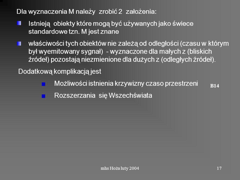 mhs Hoża luty 200417 Dla wyznaczenia M należy zrobić 2 założenia: Istnieją obiekty które mogą być używanych jako świece standardowe tzn.