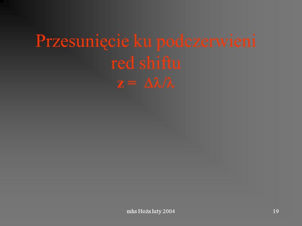 mhs Hoża luty 200419 Przesunięcie ku podczerwieni red shiftu z =