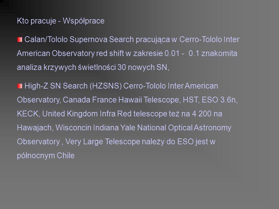 Kto pracuje - Współprace Calan/Tololo Supernova Search pracująca w Cerro-Tololo Inter American Observatory red shift w zakresie 0.01 - 0.1 znakomita analiza krzywych świetlności 30 nowych SN, High-Z SN Search (HZSNS) Cerro-Tololo Inter American Observatory, Canada France Hawaii Telescope, HST, ESO 3.6n, KECK, United Kingdom Infra Red telescope też na 4 200 na Hawajach, Wisconcin Indiana Yale National Optical Astronomy Observatory, Very Large Telescope należy do ESO jest w północnym Chile
