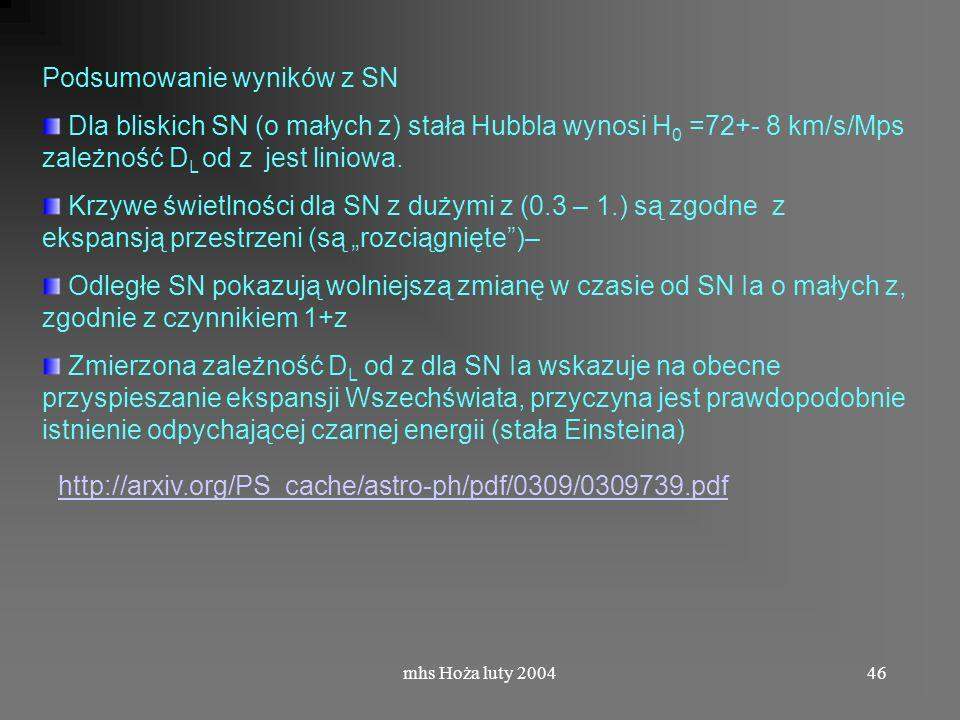 mhs Hoża luty 200446 Podsumowanie wyników z SN Dla bliskich SN (o małych z) stała Hubbla wynosi H 0 =72+- 8 km/s/Mps zależność D L od z jest liniowa.