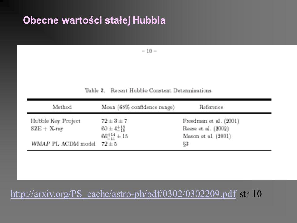 http://arxiv.org/PS_cache/astro-ph/pdf/0302/0302209.pdfhttp://arxiv.org/PS_cache/astro-ph/pdf/0302/0302209.pdf str 10 Obecne wartości stałej Hubbla