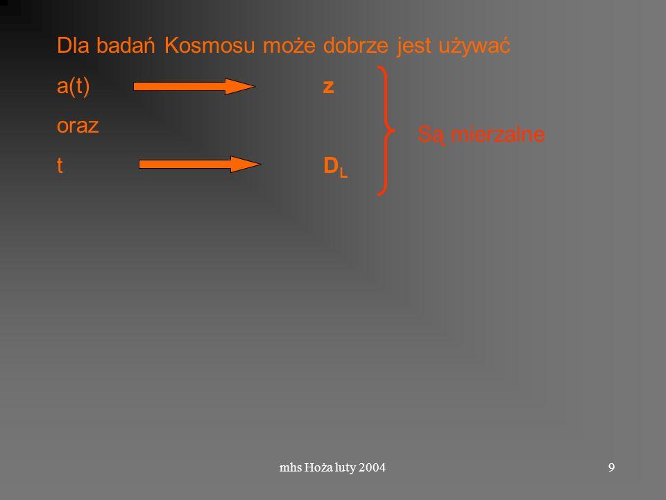 B10/5-6 z = a(t 0 ) / a(t e ) – 1 = ( 0 - e ) / e –1 = e t e czas emisji t 0 obecnie
