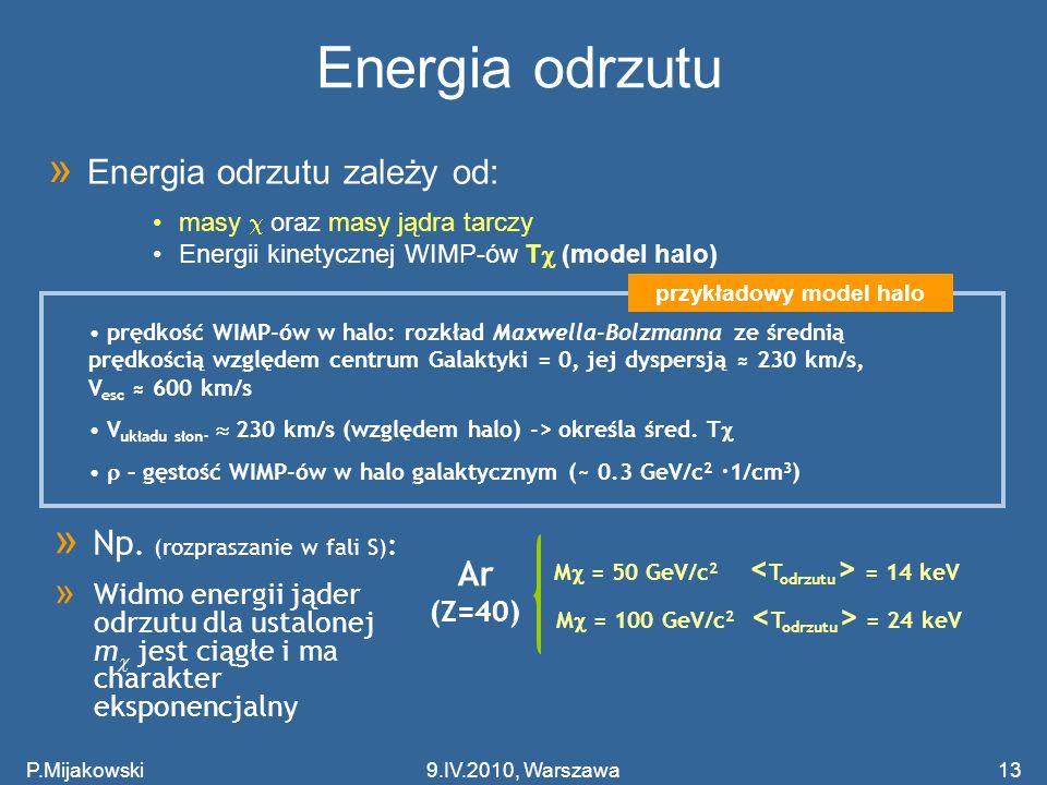 P.Mijakowski13 Energia odrzutu M = 100 GeV/c 2 = 24 keV prędkość WIMP-ów w halo: rozkład Maxwella-Bolzmanna ze średnią prędkością względem centrum Gal