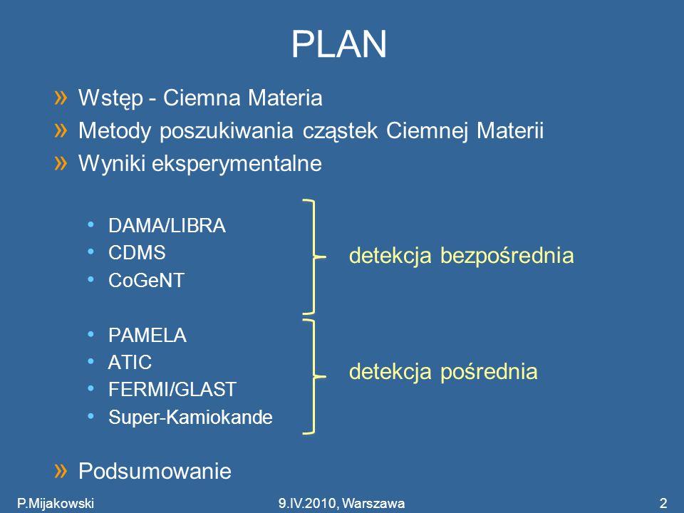 P.Mijakowski2 PLAN » Wstęp - Ciemna Materia » Metody poszukiwania cząstek Ciemnej Materii » Wyniki eksperymentalne DAMA/LIBRA CDMS CoGeNT PAMELA ATIC