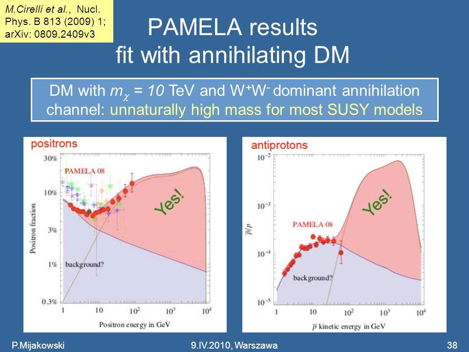 PAMELA results fit with annihilating DM P.Mijakowski9.IV.2010, Warszawa38 M.Cirelli et al., Nucl. Phys. B 813 (2009) 1; arXiv: 0809.2409v3 DM with m =