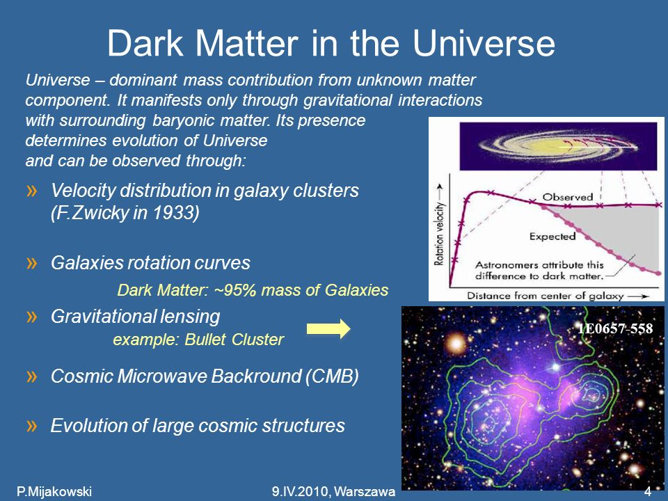 P.Mijakowski5 CDM model Cosmological parameters » = 0.73 0.02 » tot tot = 1.02 0.02 » m m = 0.27 0.02 » b b ~ 0.044 0.002 Conclusions: m >> b => Dark Matter m Dark Energy CDM – standard model of a Big Bang cosmology, based on recent observations: CMB, large scale structures, accelerating expansion of the Universe 9.IV.2010, Warszawa