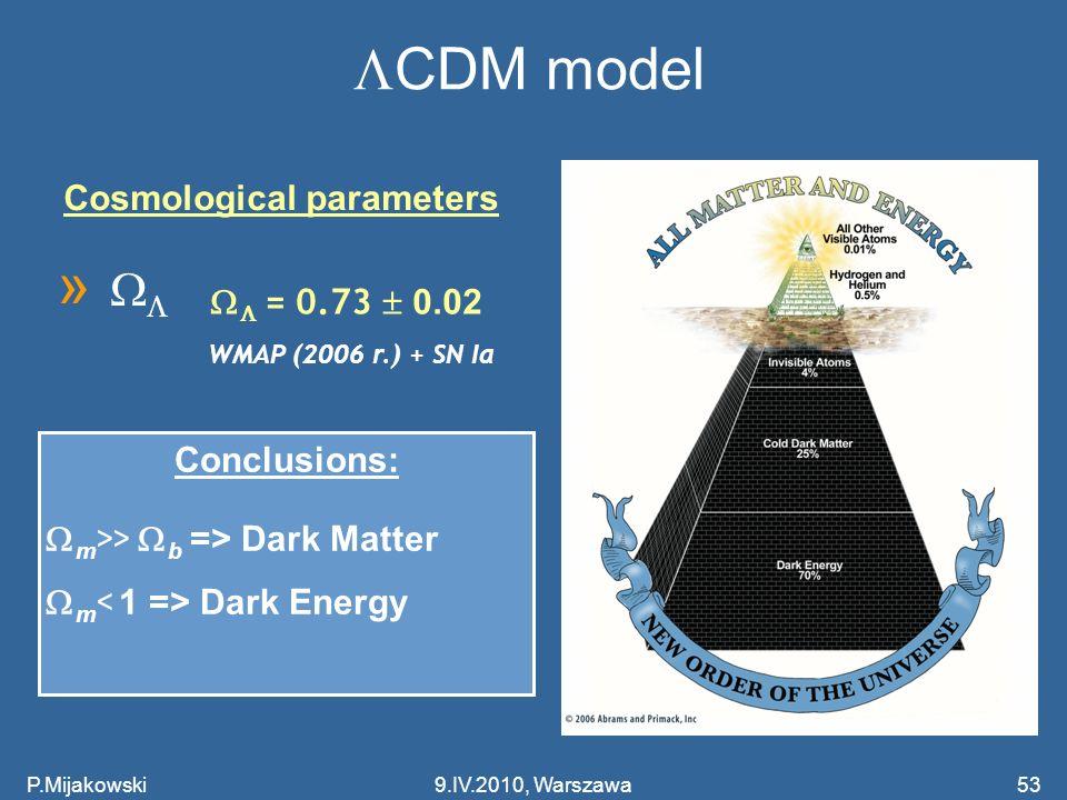 P.Mijakowski53 CDM model Cosmological parameters » = 0.73 0.02 WMAP (2006 r.) + SN Ia Conclusions: m >> b => Dark Matter m Dark Energy 9.IV.2010, Wars