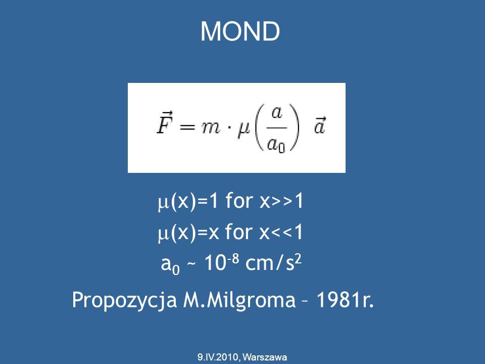 (x)=1 for x>>1 (x)=x for x<<1 a 0 ~ 10 -8 cm/s 2 Propozycja M.Milgroma – 1981r. MOND 9.IV.2010, Warszawa