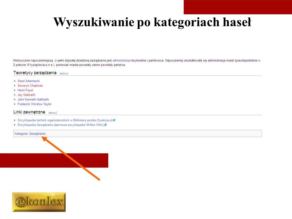 Wyszukiwanie po kategoriach haseł