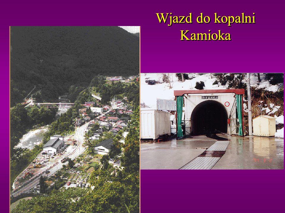 Detektory w kopalni Kamioka Experymenty: Kamiokande Super-Kamiokande KamLand: