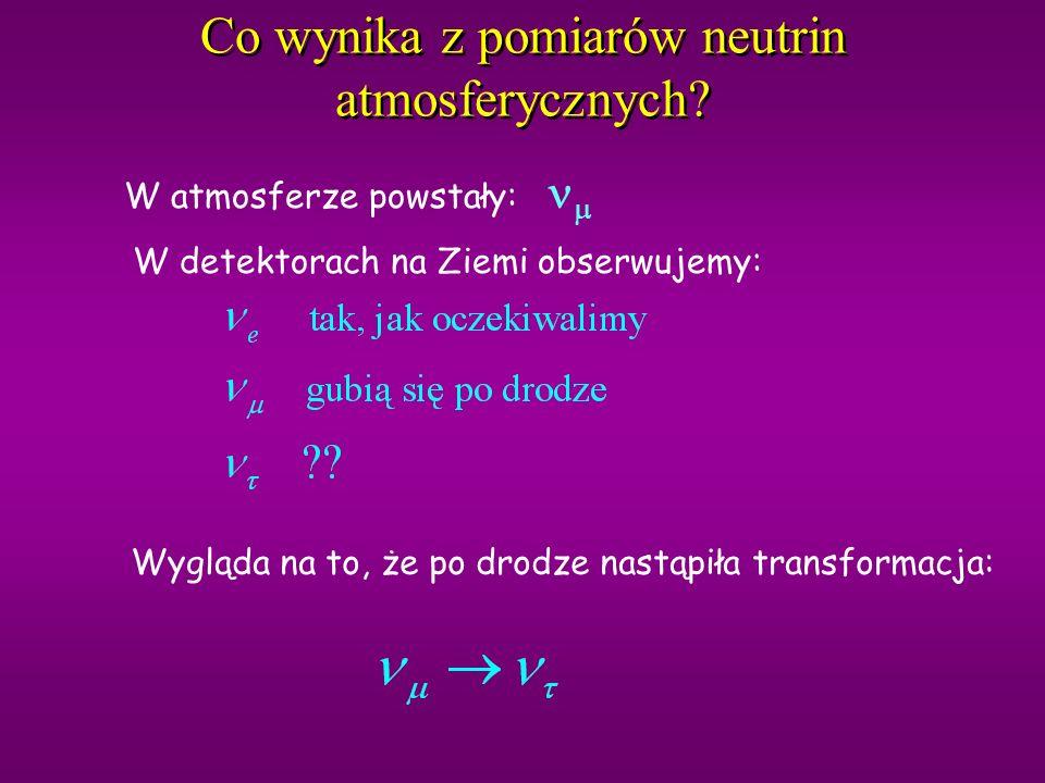 Przekroje czynne Prawdopodobieństwo oddziaływania: porównane z: bo masy: 106 MeV eV Czyli jeśli do detektora docierają zamiast to je znacznie trudniej