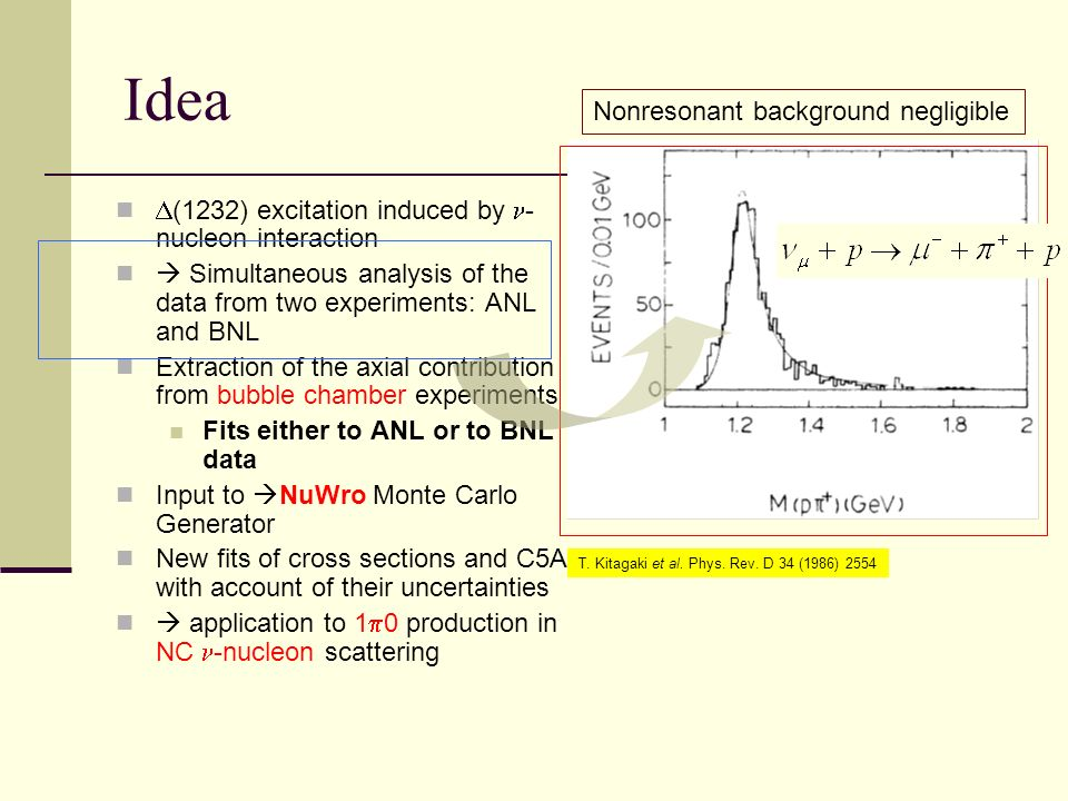 Idea (1232) excitation induced by - nucleon interaction Simultaneous analysis of the data from two experiments: ANL and BNL Extraction of the axial contribution from bubble chamber experiments Fits either to ANL or to BNL data Input to NuWro Monte Carlo Generator New fits of cross sections and C5A with account of their uncertainties application to 1 0 production in NC -nucleon scattering Nonresonant background negligible T.