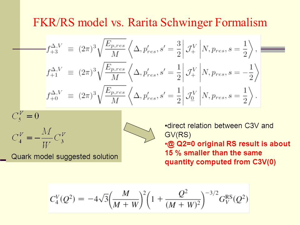FKR/RS model vs. Rarita Schwinger Formalism Quark model suggested solution direct relation between C3V and GV(RS) @ Q2=0 original RS result is about 1