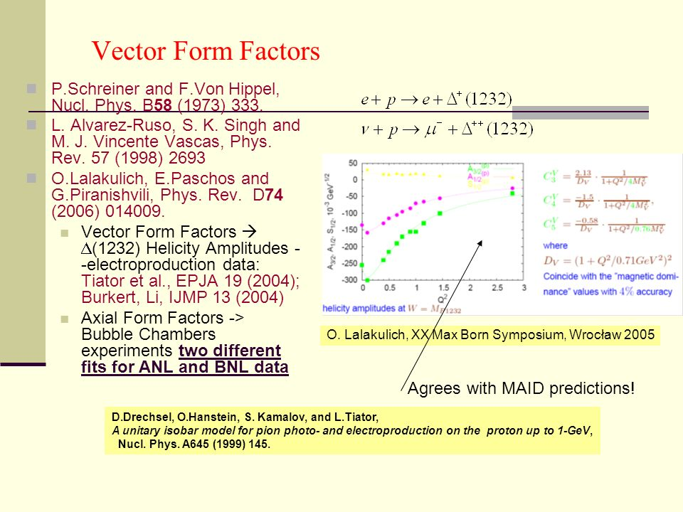 Vector Form Factors P.Schreiner and F.Von Hippel, Nucl.