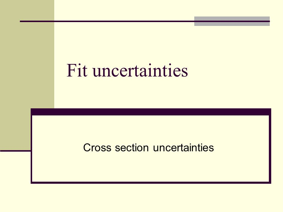 Fit uncertainties Cross section uncertainties