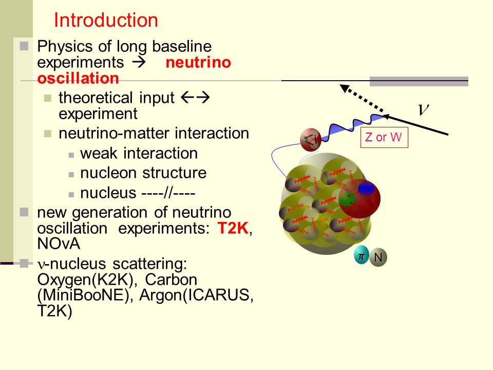 Physics of long baseline experiments neutrino oscillation theoretical input experiment neutrino-matter interaction weak interaction nucleon structure nucleus ----//---- new generation of neutrino oscillation experiments: T2K, NOvA -nucleus scattering: Oxygen(K2K), Carbon (MiniBooNE), Argon(ICARUS, T2K) Introduction Z or W N