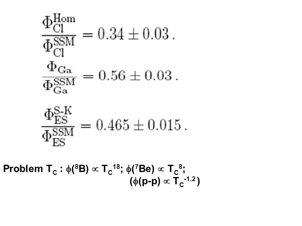 Problem T C : ( 8 B) T C 18 ; ( 7 Be) T C 8 ; ( (p-p) T C -1.2 )