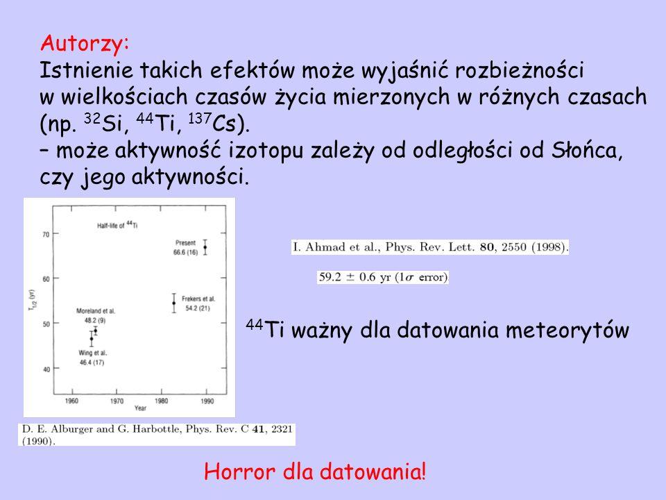 Autorzy: Istnienie takich efektów może wyjaśnić rozbieżności w wielkościach czasów życia mierzonych w różnych czasach (np. 32 Si, 44 Ti, 137 Cs). – mo