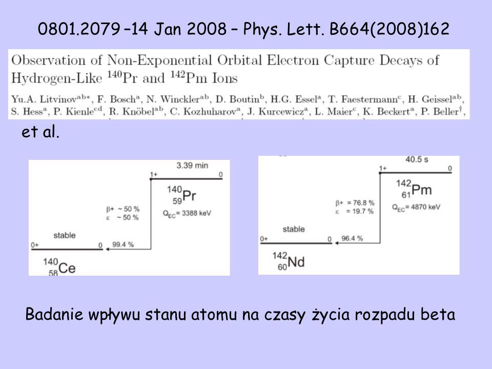 et al. 0801.2079 –14 Jan 2008 – Phys. Lett. B664(2008)162 Badanie wpływu stanu atomu na czasy życia rozpadu beta