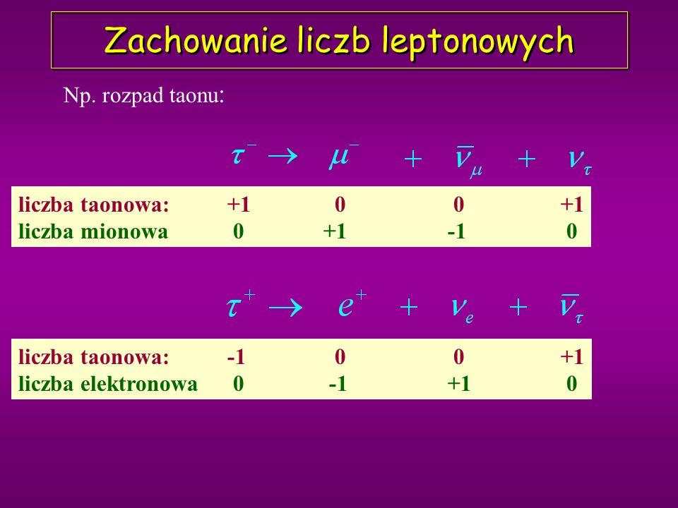 Oddziaływania słabe W+W+ W-W- W-W- W+W+ Bozony pośredniczące transformują fermiony górne w dolne i na odwrót