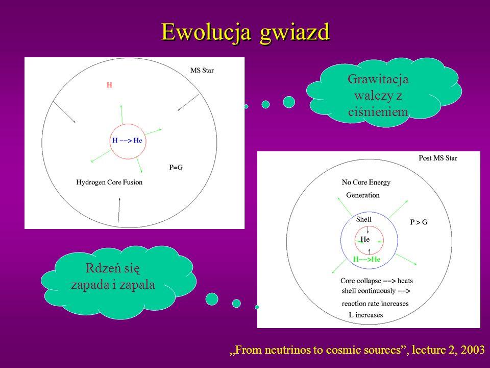 Reakcje fuzji termojądrowej w Słońcu p+p> e +e + +d 0.42MeV max p+ e - + p> e +d 1.44 MeV d+p> + 3 He 3 He+ 3 He> 4 He+p+p 3 He+ 4 He> 7 Be+ 7 Be+ e - > e + 7 Li.86 MeV 7 Be+p> 8 B+ 7 Li+p> 4 He+ 4 He 8 B> e - + e + 8 Be 15 MeV max 8 Be> 4 He+ 4 He ppI (85%) ppII (15%) ppIII (0.01%) rzadkie ale łatwiejsza detekcja