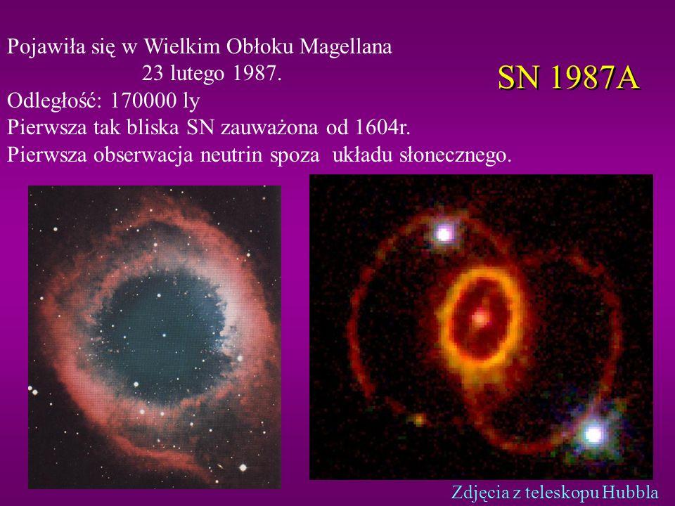 Neutrina z Supernowych Neutrina unoszą 99% całkowitej energii z wybuchu SN Puls termiczny trwa kilka sekund W ciągu tych kilku sekund energia neutrin przekracza całą widzialną energię Wszechświata Neutrina są jedynym źródłem informacji o tym, co się działo w rdzeniu zapadającej się gwiazdy, z którego tworzy się gwiazda neutronowa Neutrina docierają wcześniej niż światło Neutrina są w stanie dotrzeć z SN niewidocznych w świetle widzialnym Jedyny problem: Jak je zaobserwować?